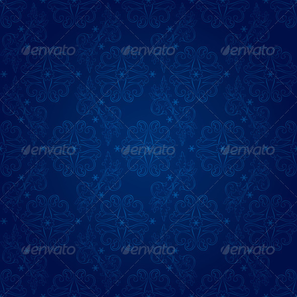 GraphicRiver Floral vintage seamless pattern on blue background 4056779
