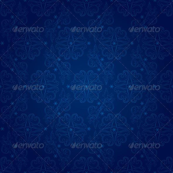 GraphicRiver Floral vintage seamless pattern on blue background 4056779
