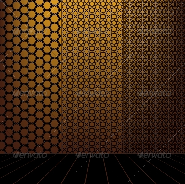 GraphicRiver Golden Room with set seamless and wooden floor 4056988