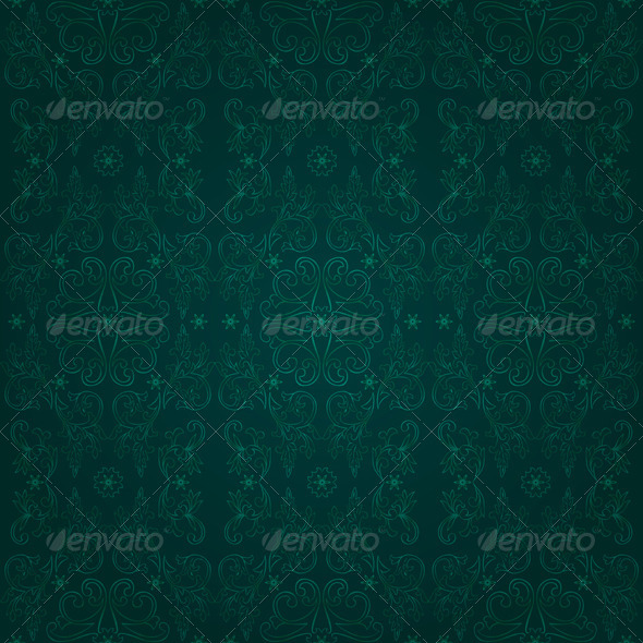 Floral seamless pattern on green background