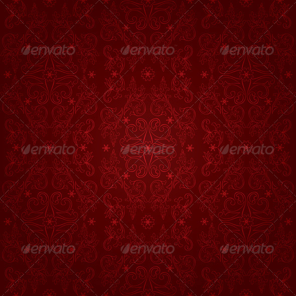GraphicRiver Floral vintage seamless pattern on red background 4057161