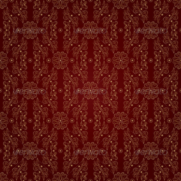 GraphicRiver Gold floral seamless pattern on red background 4057178