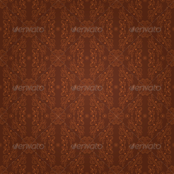 GraphicRiver Floral seamless pattern on brown background 4057193