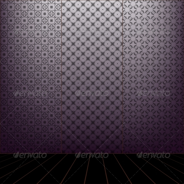 GraphicRiver Lilac Room with set seamless and wooden floor 4057242