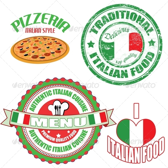 Set of authentic italian food stamp and labels