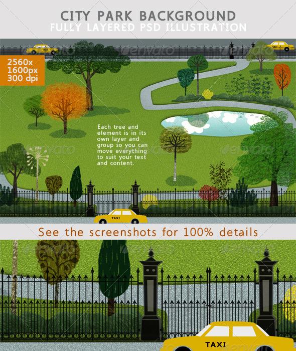 GraphicRiver City Park Backgound 4057750