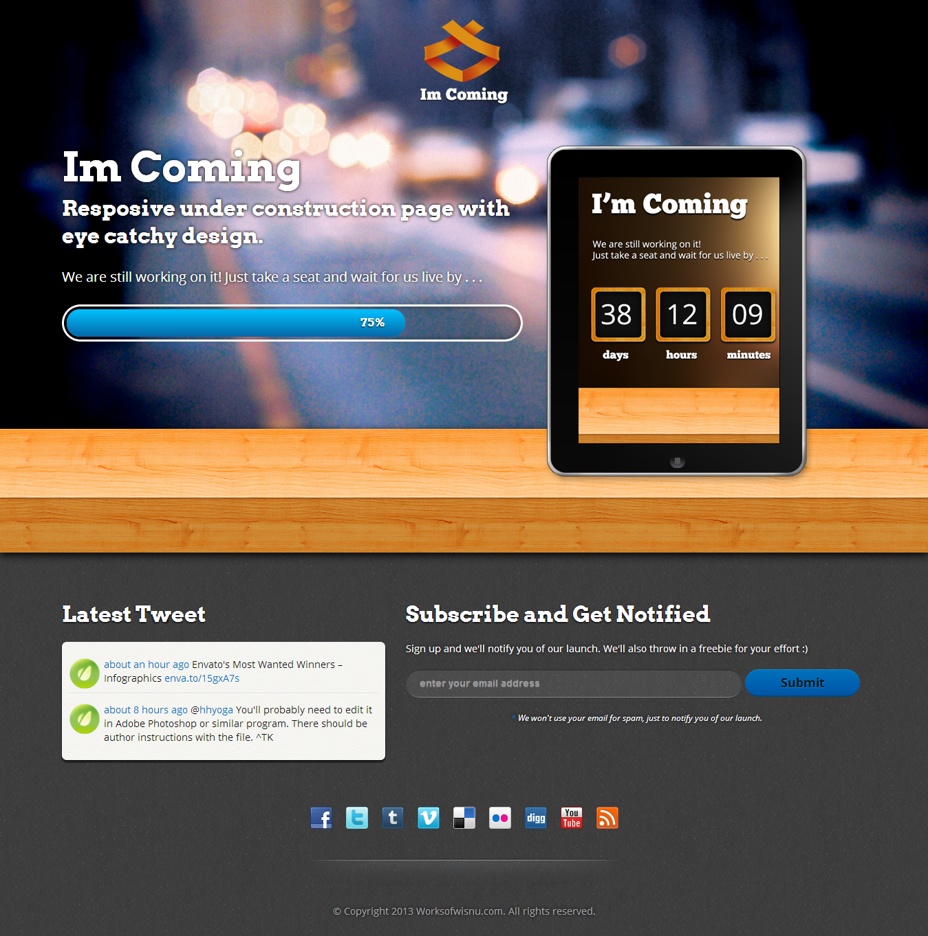 Im Coming Responsive Under Construction Template