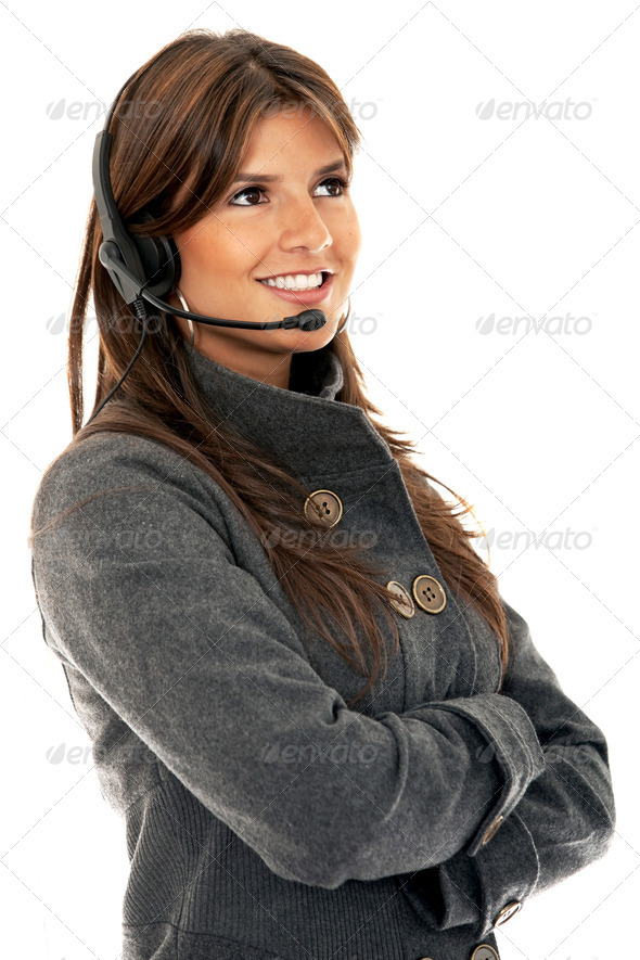 customer services girl - Stock Photo - Images