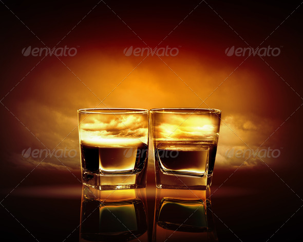 PhotoDune Two glasses of whiskey 4061236