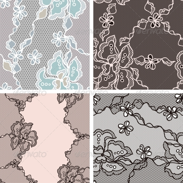 GraphicRiver Lace Fabric Seamless Patterns 4060249