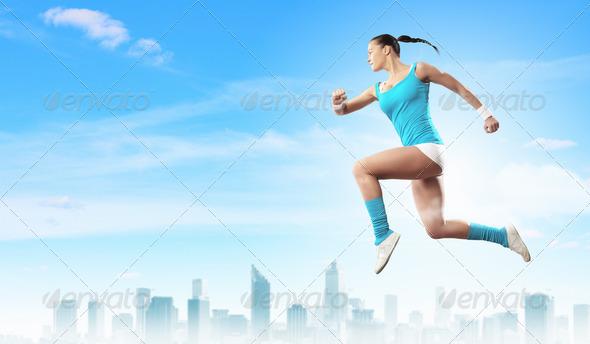 PhotoDune Image of sport woman jumping 4061315