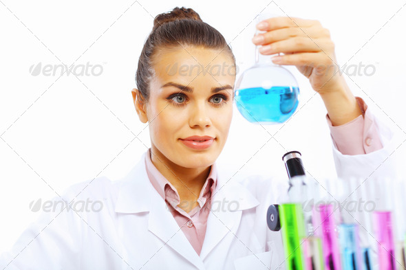 PhotoDune Young female scientist working in laboratory 4061322