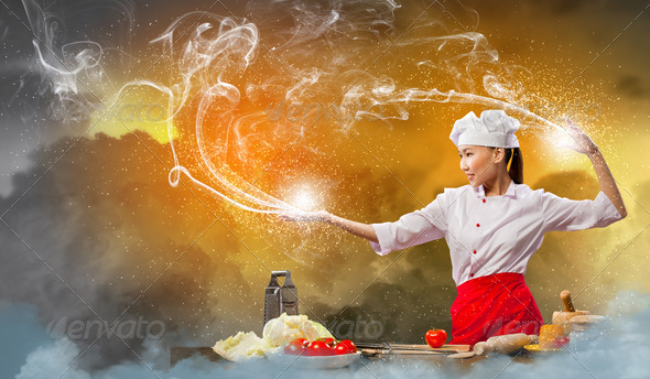 PhotoDune Asian female cooking with magic 4061324