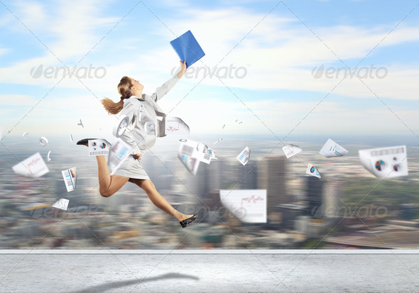PhotoDune Image of running businesswoman 4061331