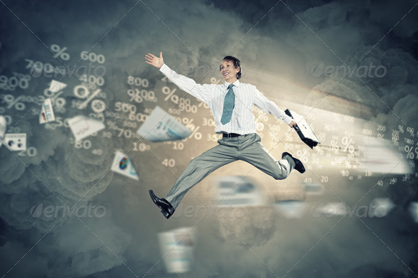 Image of running businessman - Stock Photo - Images