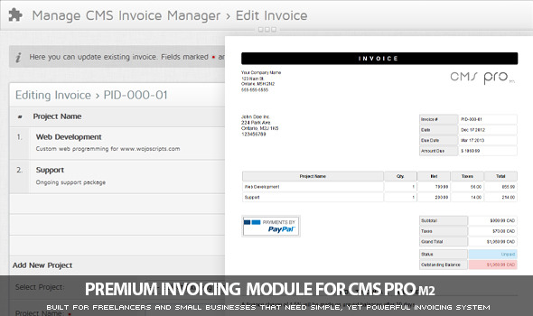 Invoicing Module for CMS pro m2 - CodeCanyon Item for Sale