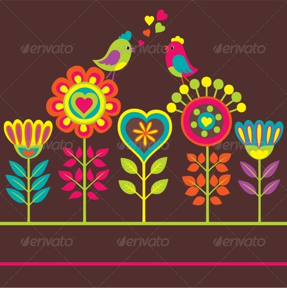 GraphicRiver Decorative colourful funny flower composition 4061684