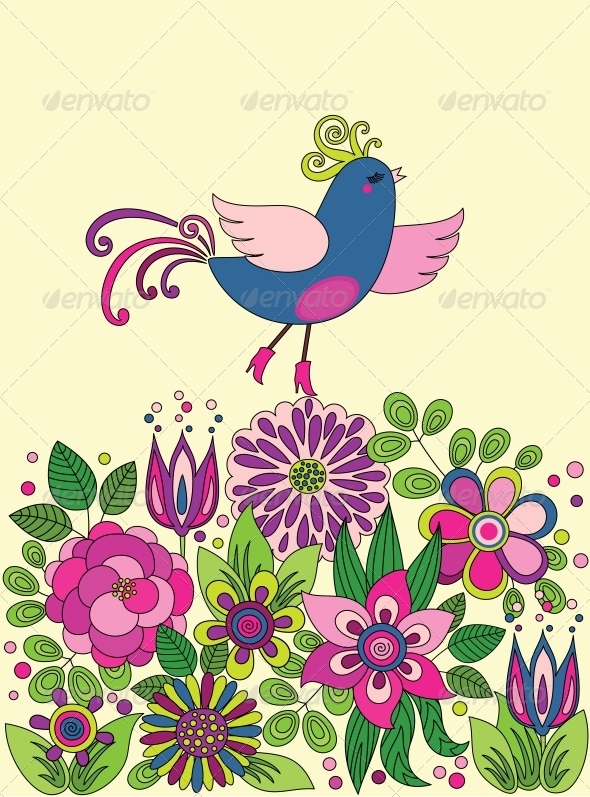 GraphicRiver Decorative colorful funny bird on the flowers 4061691