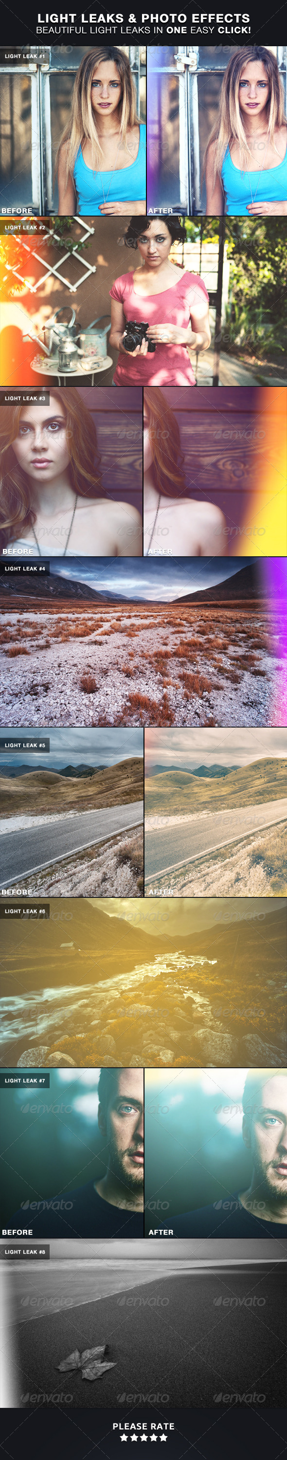 GraphicRiver Light Leaks & Photo Effects Photoshop Actions 4013438