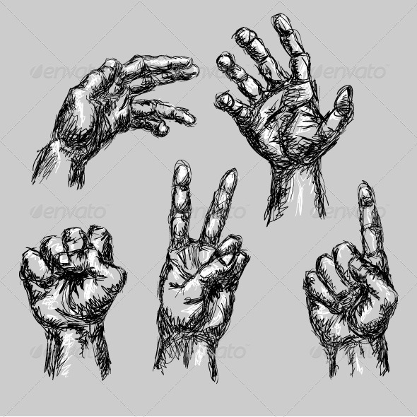 GraphicRiver 5 Hand Drawn Hands 4061858