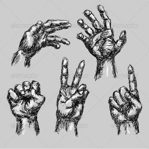 5 hand drawn hands graphicriver. Black Bedroom Furniture Sets. Home Design Ideas