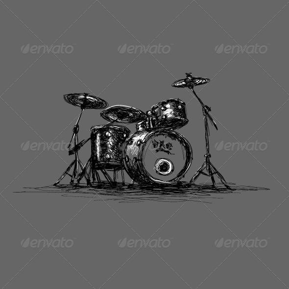hand drawn grunge drum set graphicriver. Black Bedroom Furniture Sets. Home Design Ideas