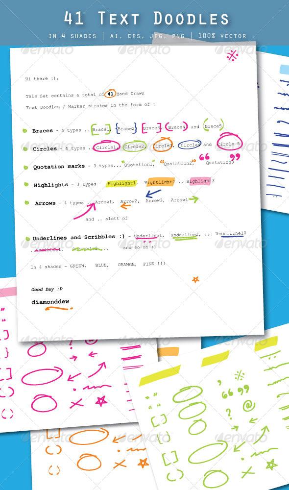 GraphicRiver 41 Text Doodles 4061922