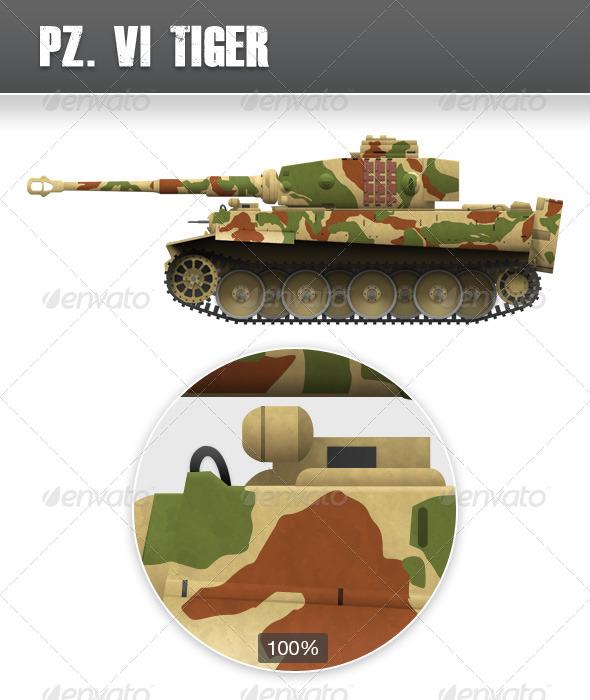 GraphicRiver World War 2 Tank Tiger 4062215