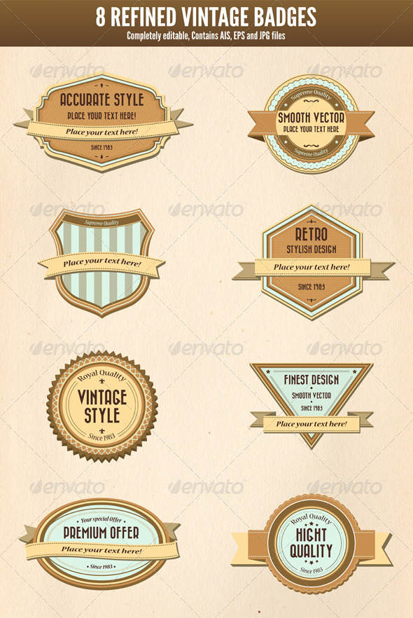 GraphicRiver 8 Refined Vintage Badges 4063074