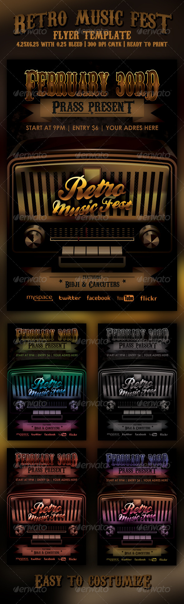 Retro Music Fest Flyer Template - Concerts Events