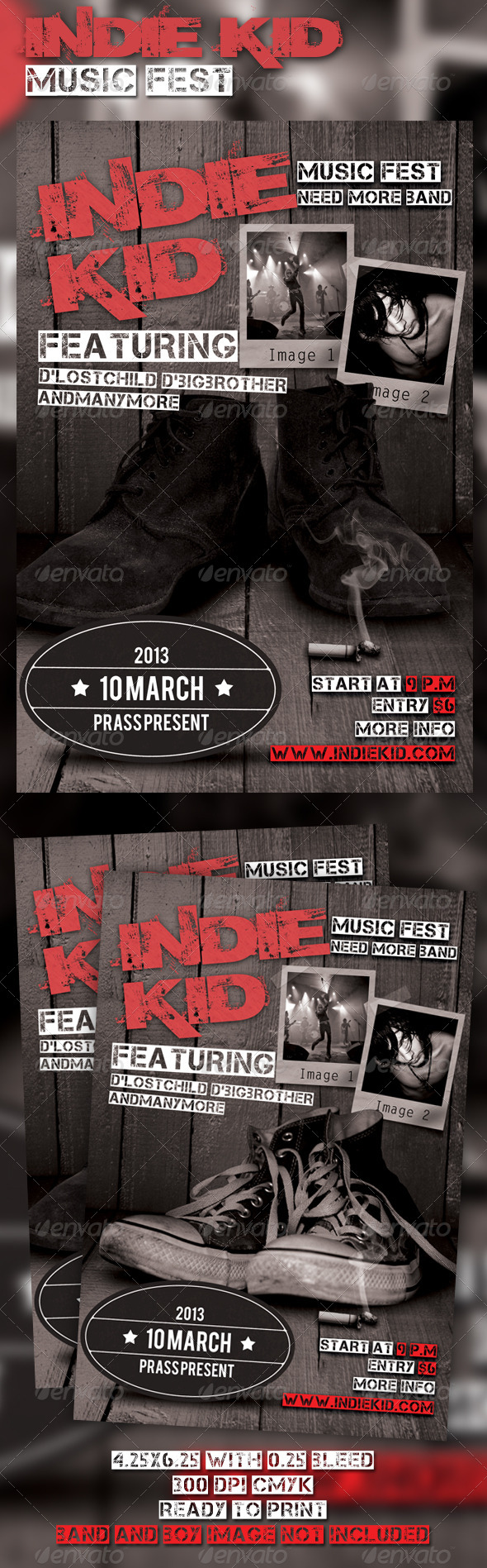 Indie Kid Music Fest Flyer Template - Clubs & Parties Events