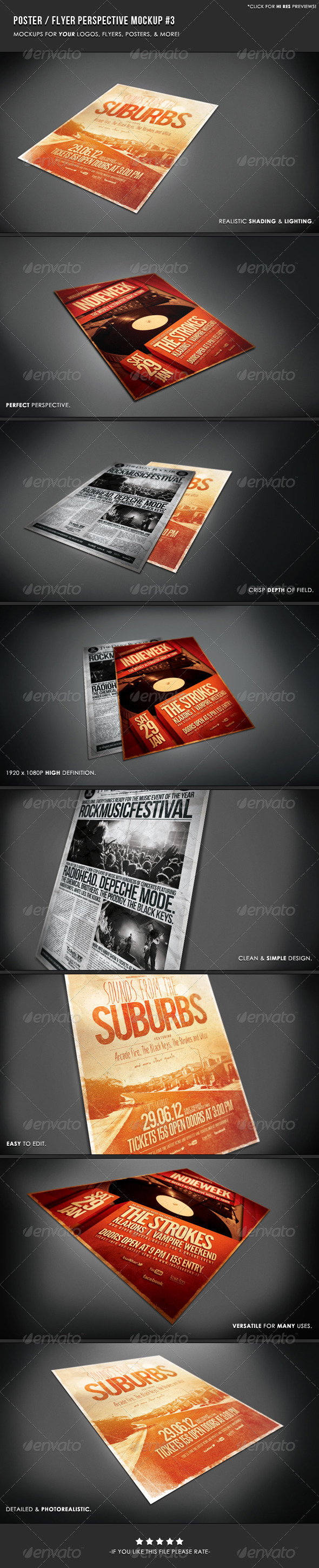 Poster & Flyer Perspective Mockup #3 - Posters Print