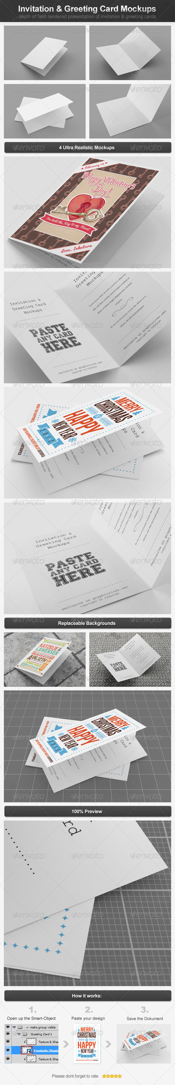 Invitation & Greeting Card Mockups - Miscellaneous Print