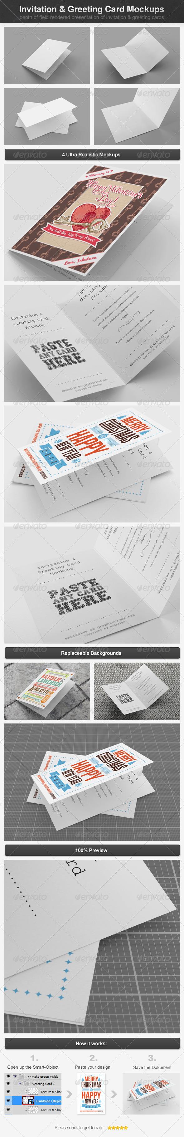 GraphicRiver Invitation & Greeting Card Mockups 4065116