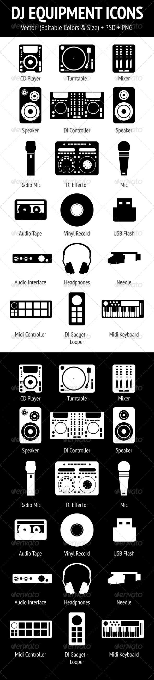 GraphicRiver DJ Equipment Icons Set 4065317