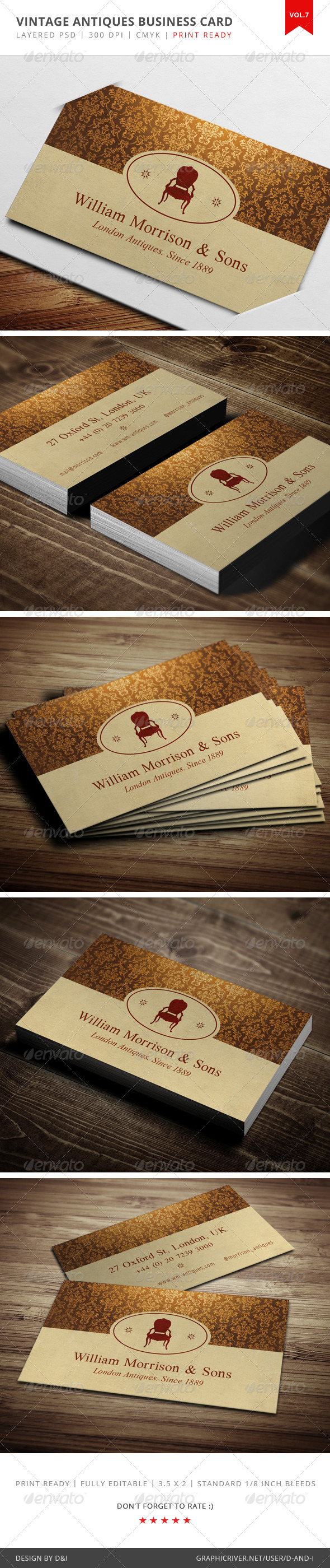 GraphicRiver Vintage Antiques Business Card Vol.7 4065833