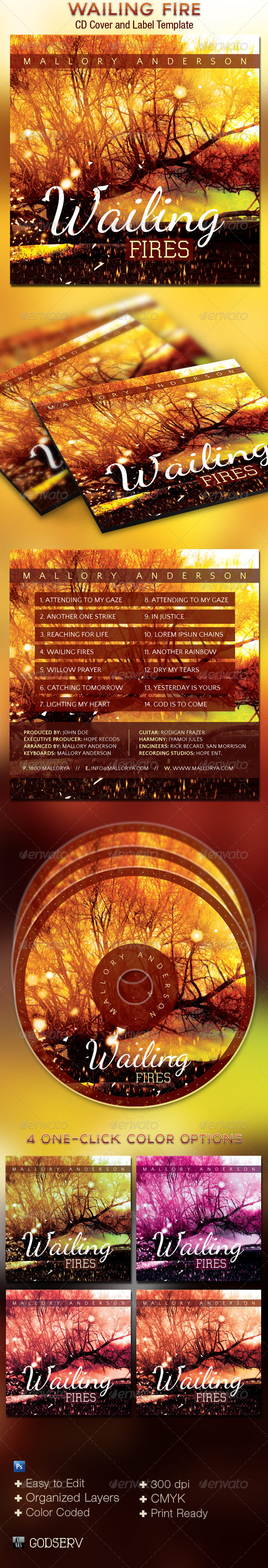 GraphicRiver Wailing Fire CD Cover Art Template 4066229