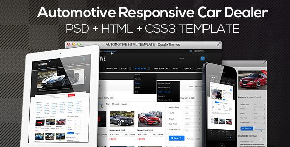 ThemeForest Automotive Cars Dealer Responsive HTML5 CSS3 PSD 4066571