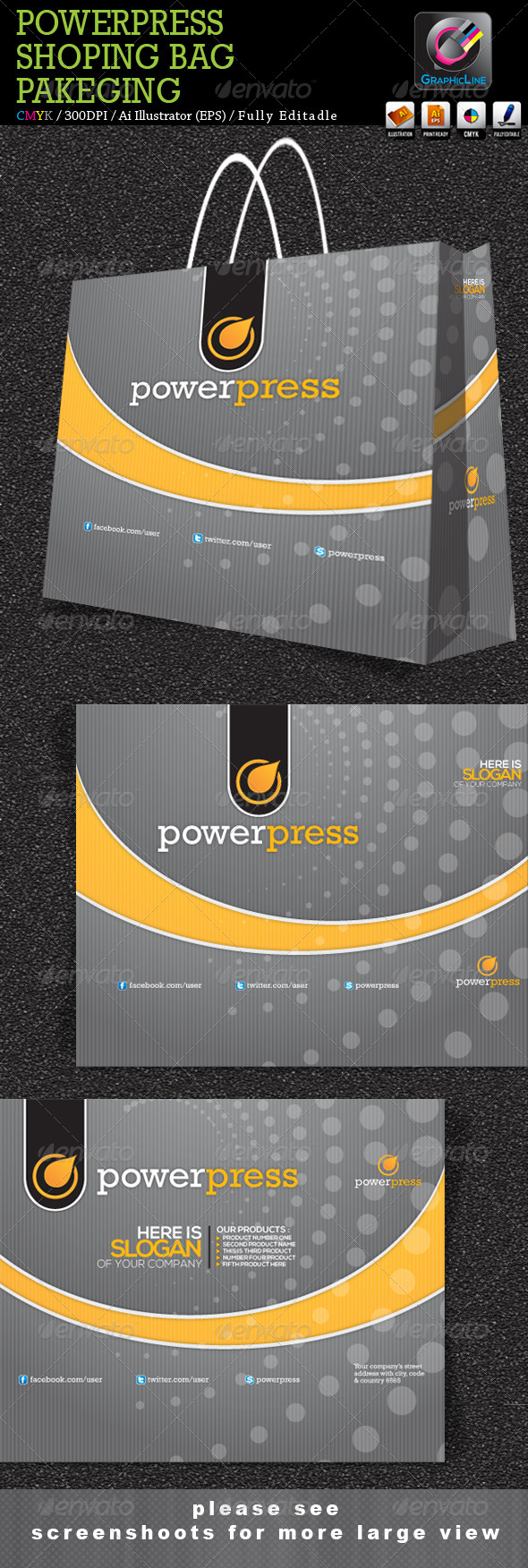 Power Press Shoping Bag Packaging - Packaging Print Templates