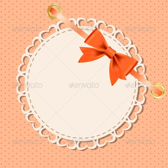 Vector Greeting Card with Frame and Bow