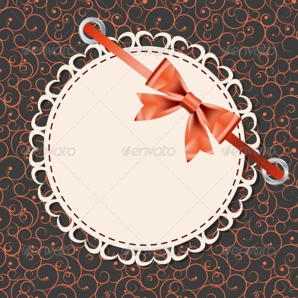 GraphicRiver Vector Greeting Card with Frame and Bow 4067420