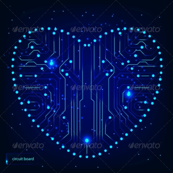 GraphicRiver Circuit board with in heart shape pattern 4067635