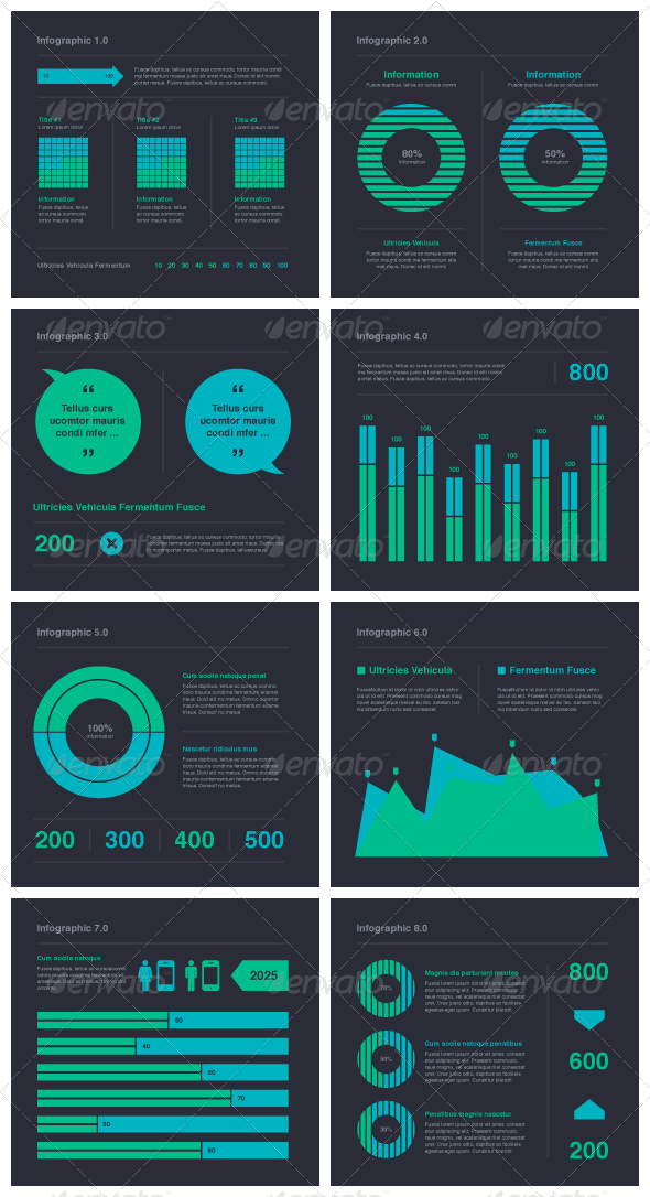 Blue Green Infographic Elements Vector
