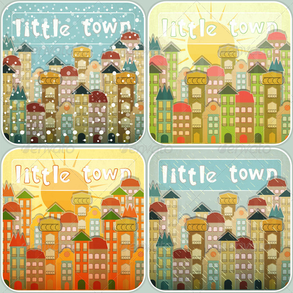 GraphicRiver Little Town Seasons Set 4067938