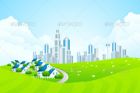 GraphicRiver Green Landscape with City line and Cottage Village 4068209