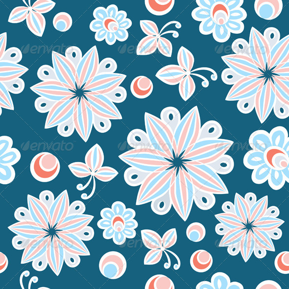GraphicRiver Seamless Floral Hand Drawn Background 4068216
