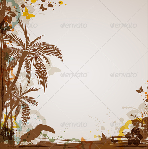 GraphicRiver Grunge Tropical Background 4068755