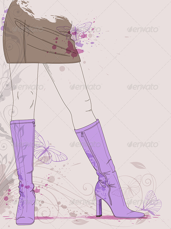 GraphicRiver Female Legs in Violet Boots 4068772