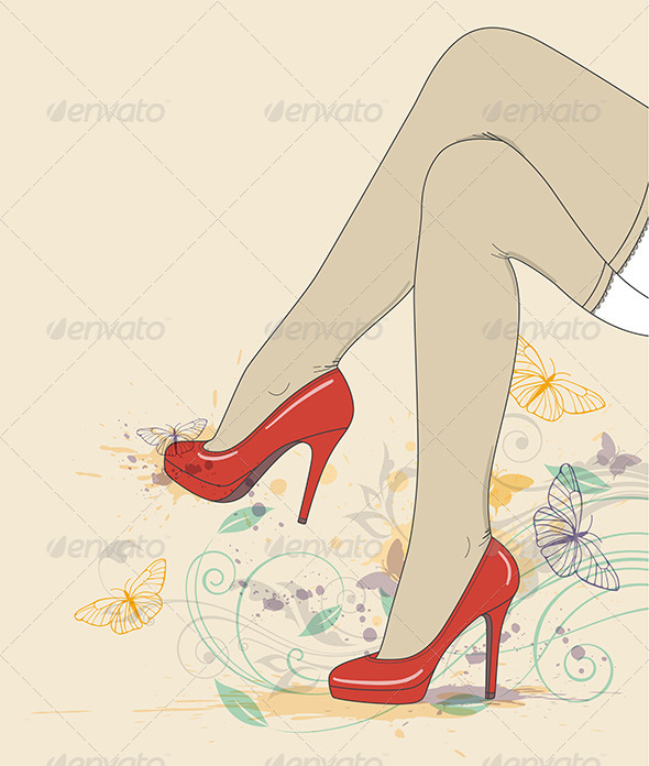 GraphicRiver Legs in Red Shoes and Stockings 4069143