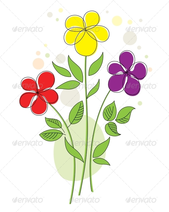 GraphicRiver Colourful Background with Abstract Flowers 4069207